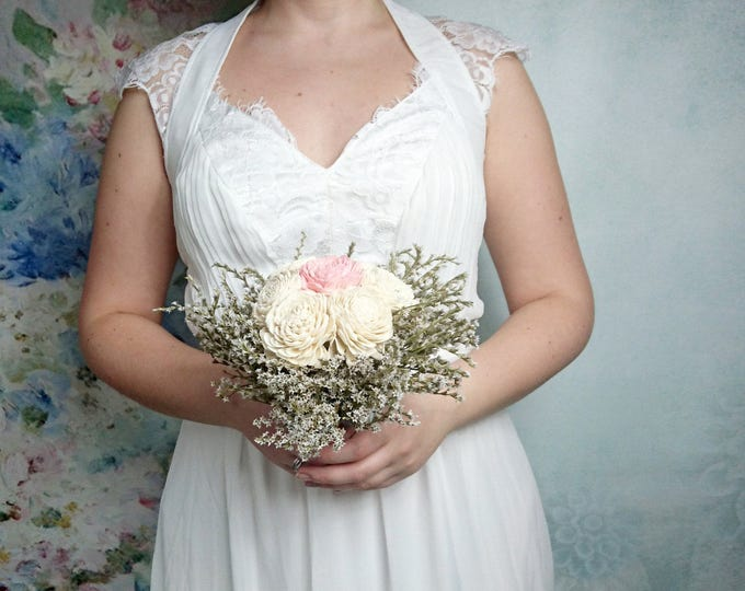 Ivory blush pink silver sola flowers wedding BOUQUET dried limonium satin ribbon lace Flower girl Bridesmaids vintage elegant custom toss