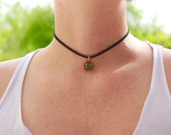 Mood Necklace // Mood Stone Necklace // Hippie Necklace // Choker Necklace // Vegan Leather // Color Change Necklace // Mood Jewelry