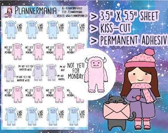 Yeti Sticker, Cute Planner Sticker, Funny Stickers, Hand Drawn Pun Sticker, Monday Stickers, Happy Planner Stickers 455