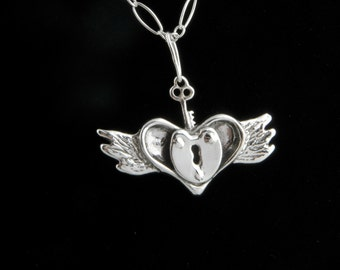 Sterling Silver Untamed Heart Necklace on 18 inch chain