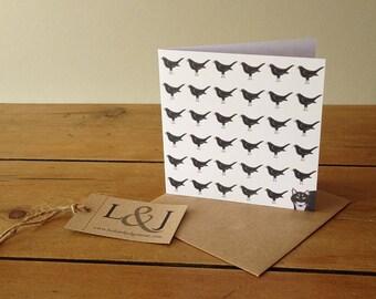 Cat Card, Cat Lovers Card, Bird Greeting Card, Note Card, Cat Lover Card, Cat Greeting Card, Cat Illustration, Bird Card, Blank Card
