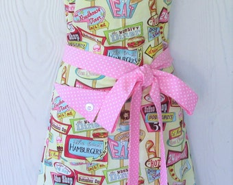 Retro Diner Apron, Fifties Coffee Shop, Vintage 50's Style, Full Apron, Pink Polka Dot, KitschNStyle