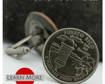 Puerto Rico Cufflinks - Morro cufflinks - Boricua Cufflinks - Puerto Rico Wedding Cufflinks
