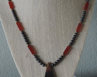 Jasper Carnelian Necklace,  Jasper Pendant Necklace,  Carnelian and Jasper Necklace,  Black and Orange Necklace,