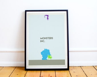 Monsters Inc - Minimalist Poster Print - Pixar - Disney Art Print - Minimalist (Available In Many Sizes)