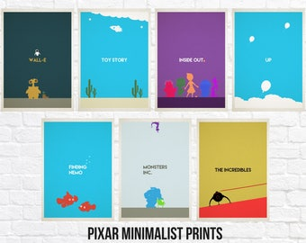 Minimalist Pixar Movie Print Sets - Toy Story - Inside Out - Wall-E - Finding Nemo - Monsters Inc - Incredibles - Up - Movie Poster