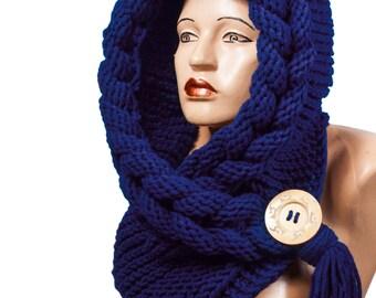 Hooded Scarf, Scarf, Hood, scarf hooded, Chunky scarf, Wool cowl | 551