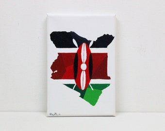 Kenya Painting, Original Painting, Kenya, Kenya Flag, Kenya Map, Kenyan Flag, Map Wall Art, Map Wall Decor, Flag Art, Africa Map, Travel Art