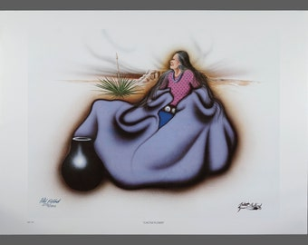 "1993 Robert Redbird ""Pot"" Native American Print Limited Edition 598/1000 Signed 32.25 x 23 Vintage Signed"