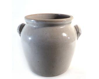 "8.7"" Beige Grey Glazed Pottery Jar, Grey Earthenware French Confit Pot, French Farmhouse, Rustic Decor, Flower Pot"