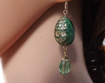 Green Easter egg earrings, Easter earrings, green earrings, Czech glass earrings, egg jewellery, Easter jewellery