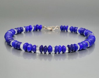 Beautiful bracelet of Lapis Lazuli and Aquamarine with Sterling silver - gift idea - special cut - variety of blue - AAA grade afghan Lapis