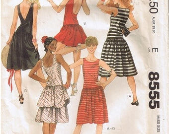 Vintage 1980s Easy Stretch Knit Lowered Waist Sleeveless Dress Scoop Deep V Back Brooke Shields McCalls 8555 Sewing Pattern Misses Size 10