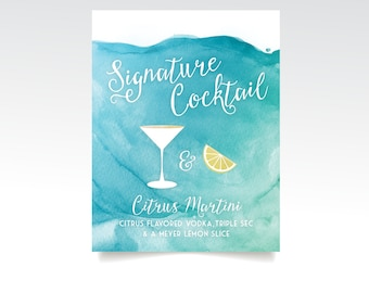 The CHRISTY . Martini Signature Cocktail Wedding Bar Sign Custom Drink Glass . White Calligraphy Watercolor Wave Teal Carribean Blue Island