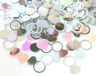 Silver & white wedding confetti, rings and hearts, shiny silver, matte silver and white, table confetti