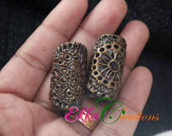 2 PC wood looking dread beads/wood carved beads/wooden dread beads/unique hair beads/wooden log dread beads/boho dread beads/rasta hair bead
