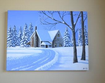 Sweet Home, 12x16' original acrylic winter painting, winter scene, snow scene, christmas painting