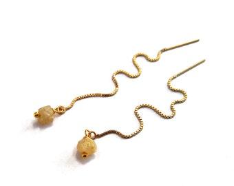 Raw Stone Threader Earrings, Chain Earrings, Birthstone Rough Citrine Thread Earrings, Gold Threader Earrings, Long Earrings Dangle Earrings