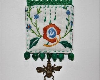 Green orange blue vintage embroidered beaded crocheted vintage doilie necklace