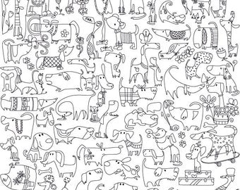 """Coloring poster """"Funny dogs"""" size 60*60cm"""