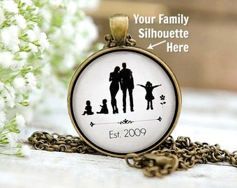 Mother's Neclace; Mother's jewelry; Gift for Mom; Silhouettes; Family Silhouettes