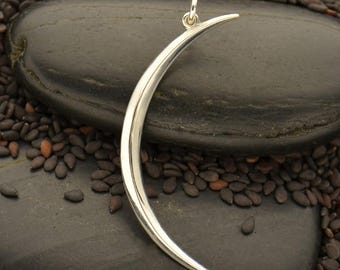 Sterling Silver Large Skinny Crescent Moon Pendant