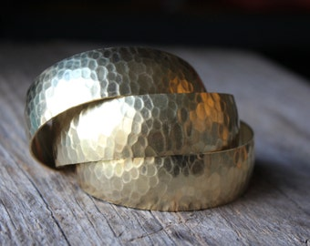 Hammered Brass Adjustable Thick Cuff Bracelet