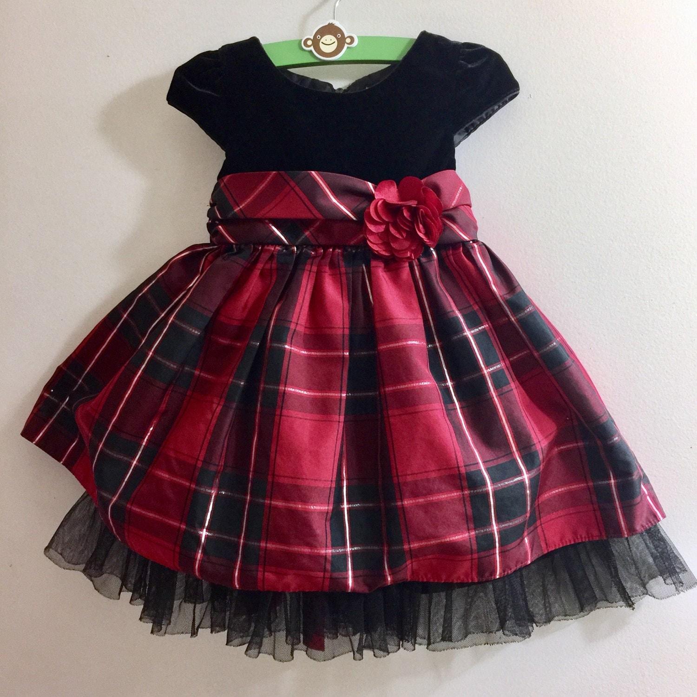 Black Red Gingham Plaid Velvet Baby Girl Dress Retro 2 Year Old Flower Bow Birthday Party
