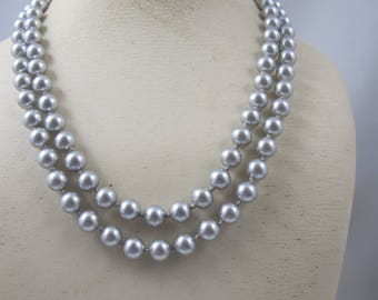 Long Gray Pearl Necklace, Opera Length Hand Knotted  Shell Pearls, 7.7mm  Bridal Wedding Pearl Jewelry, Necklace 37 Inches Long