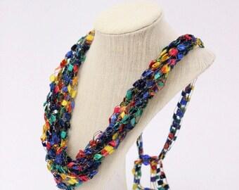 Adjustable Crochetlaces Necklace - Blue Parade, wider ribbon