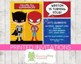 Superhero Birthday Invitation - Custom Printed Superhero Birthday Invitation - by Dancing Frog Invitations
