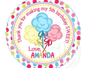 """Custom Printable Cotton Candies Thank you Tags 2.5"""" - Sweet Birthday Thank you Tag- DIY Personalized tags-Digital File"""