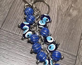 Evil Eye Key Chain Blue Spheres - Buy 1 Get 1 FREE & FREE SHIPPING!!!