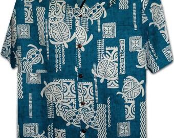 Polynesian Turtle Teal Pacific Legend Hawaiian Aloha Shirt 410-3856