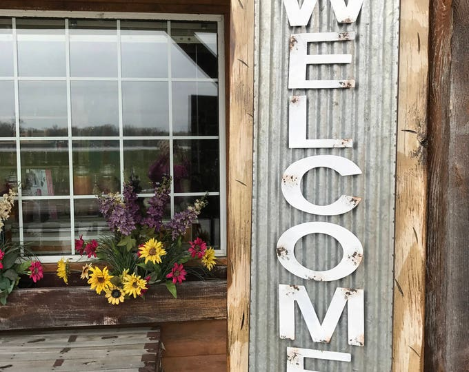 """WELCOME Sign Vertical for Porch Rustic Metal on Distressed Wood *Antique Red White Blue Gray Reclaimed Industrial XL Large 36"""" Wall Signs"""