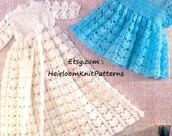 Baby Christening Gown and Short Dress Vintage Crochet Pattern Crochet Baby Dress Pattern Instant download PDF Pattern - 2013