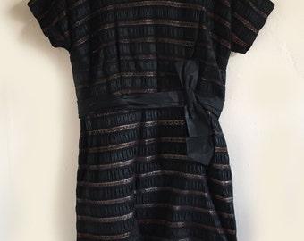 Vintage Plus Size 1950s Black Lace Wiggle Dress