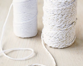 White & Gold Sparkle Cotton Twine for Gift Wrapping and Craft - 50 metres