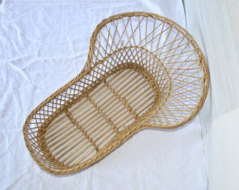 Vintage French Crib -  Handwoven Wicker Bassinet - Baby Bed - Doll Basket - Wickerware Farmhouse Decor - Cottage Chic - Rustic Country Home