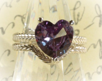 Sterling Silver Synthetic Alexandrite Solitaire Engagement Ring Set with a Heart Shaped 10x10MM Lab Alexandrite 3.16 Carats CTW
