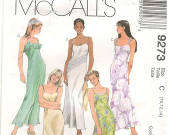 McCall's 9273 Size 10, 12, 14. Women's long a-line slip dress with bust darts and spaghetti straps sewing pattern.  Sheer overlay
