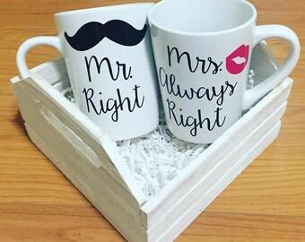 Mr. Right and Mrs. Always Right Mug Set (White)