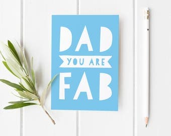 Father's Day Card, Fab Dad Card, Funny Card For Dad, Dad You Are Fab Card, Cheeky Father's Day Card, Best Dad Fathers Day Card, Card Stepdad