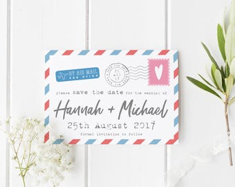 Destination Save The Date, Air Mail Save The Date, Postcard Invite, Summer Wedding Invite, Postcard Save Our Date, Air Mail Wedding Invite