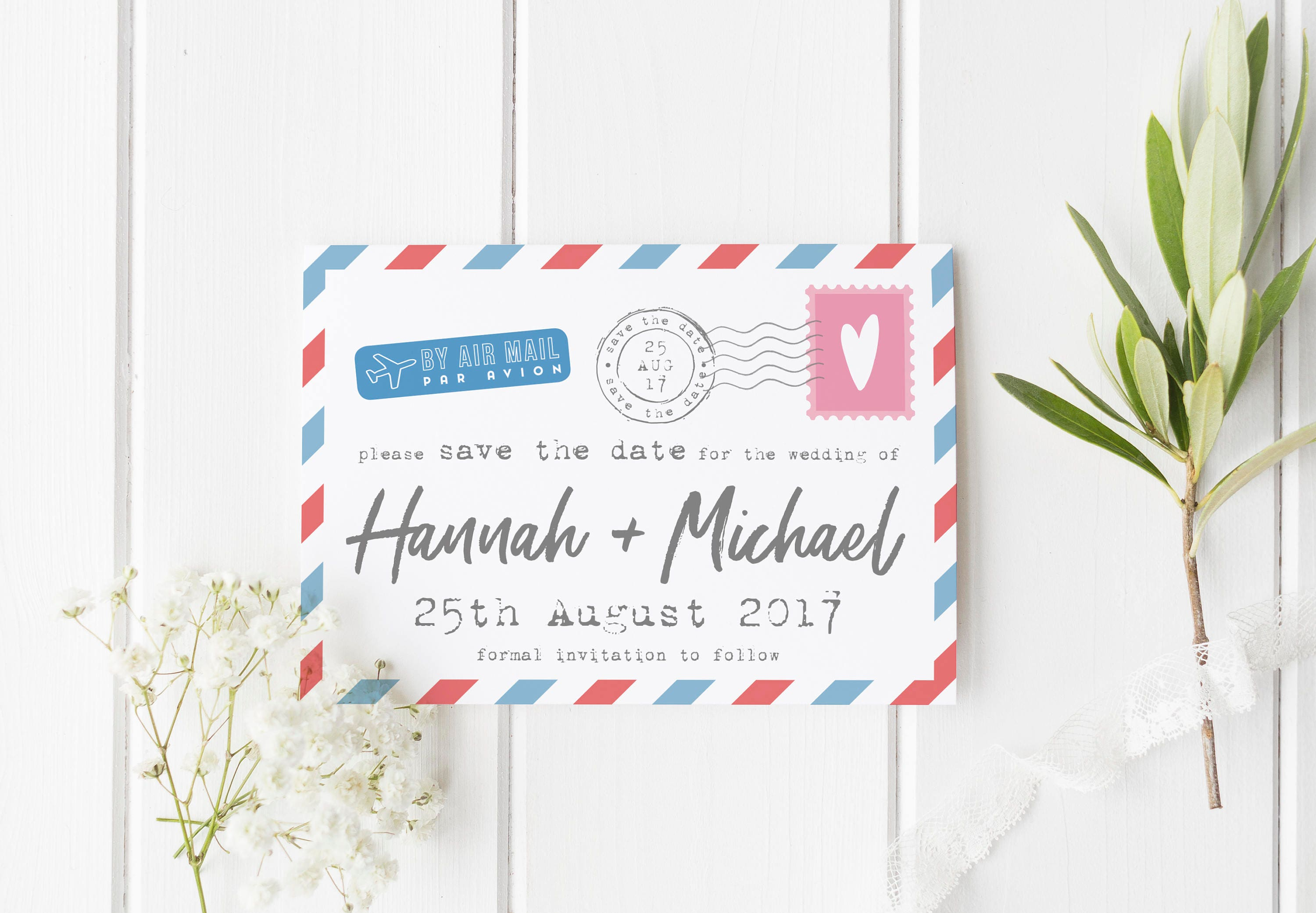 Reiseziel Save The Date Luftpost Save The Date Postkarte
