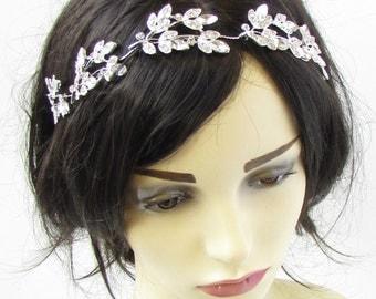 Silver Diamante Leaf Bridal Headpiece Hair Vine Headband Rhinestone 1920s 891