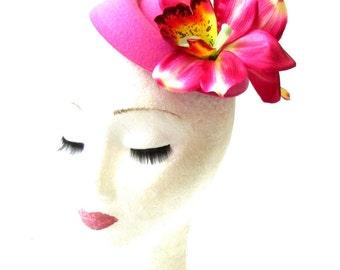 Hot Pink Orchid Flower Pillbox Hat Fascinator Headpiece Races Rockabilly 2063