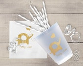 Baby Shower Cups | Personalized Frosted Cup | Elephant Cups