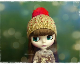 BLYTHE, Pullip, SD, SD+ Hat - Knitted Brown Hat With Pompom and Beads #7