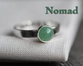 NOMAD - secret identity ring. soft green aventurine gemstone. polished sterling silver. stamped message jewelry. personalized band